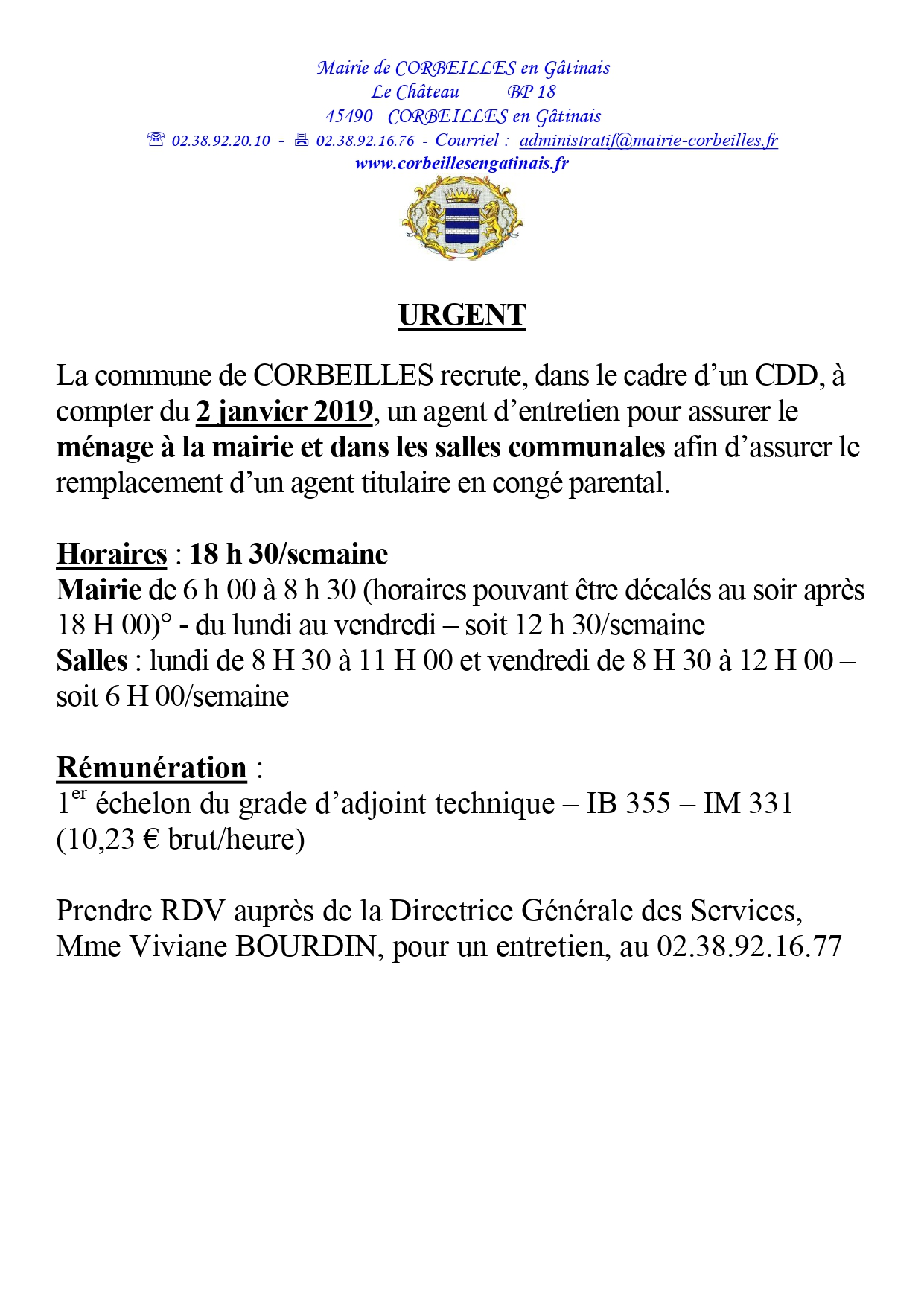 Annonce remplacement ménage mairie salles page 0001