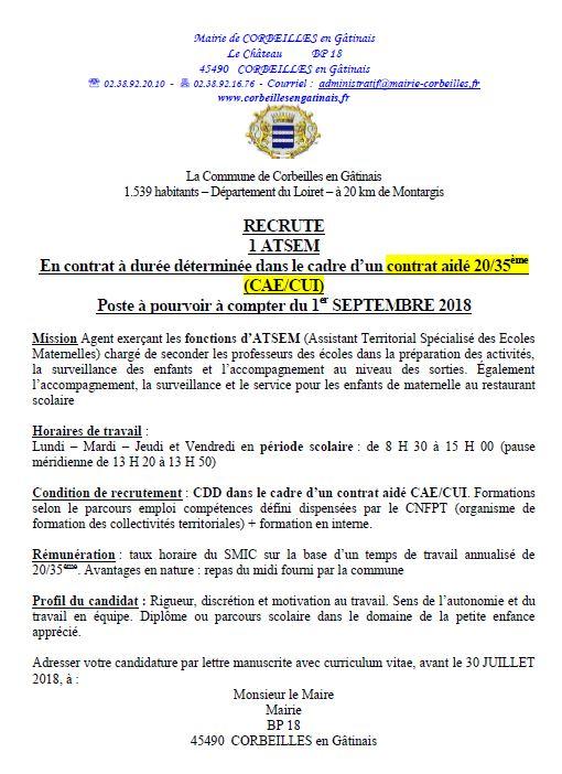 Corbeille En Gatinais Actualites Offres D Emploi Ecole De Corbeilles